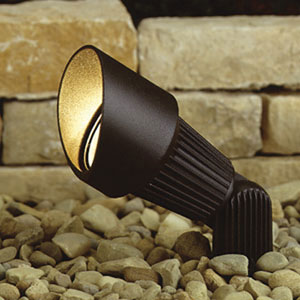 Textured Architectural Bronze 3-Inch One-Light Landscape Accent Fixture with Grooved Body
