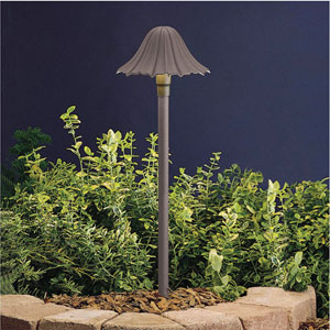 Textured Architectural Bronze 23-Inch One-Light Landscape Leaf Path Light