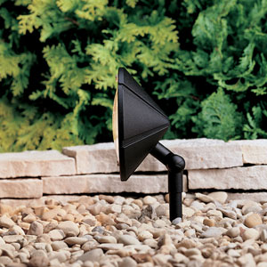 Six Groove Textured Black 6-Inch One-Light Landscape Accent Fixture