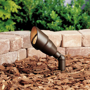 Textured Architectural Bronze 3-Inch One-Light Landscape Accent Fixture with Bulb