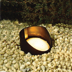 Black 5.5-Inch One-Light Landscape In-Ground Accent Fixture with Bulb