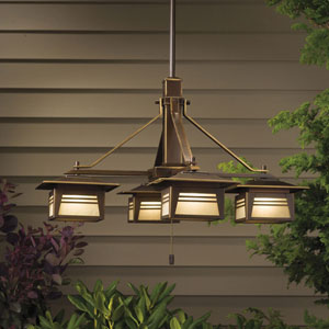 Zen Garden Olde Bronze 25-Inch Four Light Outdoor Chandelier