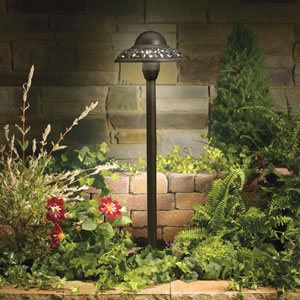 Textured Architectural Bronze 21.5-Inch One-Light Landscape Path Light with Cutout Detail