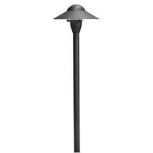 Textured Black 21-Inch One-Light Landscape Path Light with Six-Inch Dome