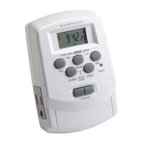 White Landscape Digital Transformer Timer with Daylight Savings