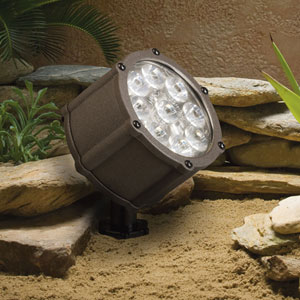 Textured Architectural Bronze 3000 Kelvin LED Wide Flood Landscape Light