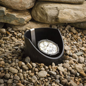 Textured Black 3000 Kelvin Nine-Light LED Flood Landscape Well Light