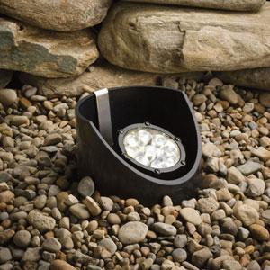 Textured Black 3000 Kelvin Nine-Light LED Wide Flood Landscape Well Light