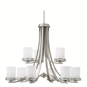 Hendrik Brushed Nickel Two-Tier, Nine-Light Chandelier