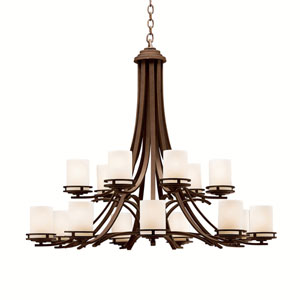Hendrik Olde Bronze Two-Tier, Fifteen-Light Chandelier