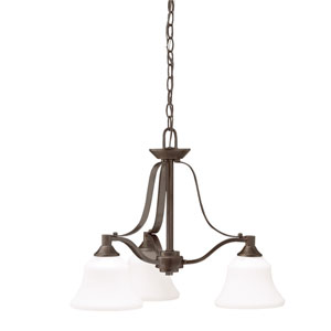 Langford Olde Bronze Three Light One Tier Small Chandelier