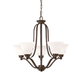 Langford Olde Bronze Five Light One Tier Medium Chandelier with Satin Etched White Glass