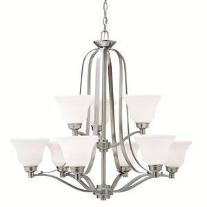 Langford Brushed Nickel 33-Inch Ten-Light Energy Star Two Tier Chandelier