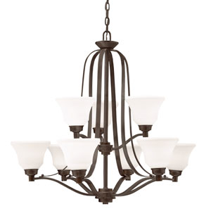 Langford Olde Bronze 33-Inch Nine-Light Energy Star Two Tier Chandelier