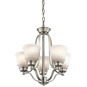 Langford Brushed Nickel Five Light Mini Chandelier with Satin Etched White Glass