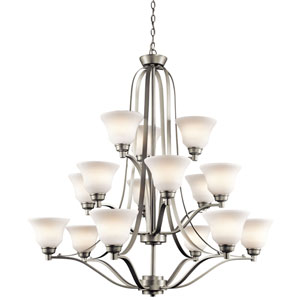 Langford Brushed Nickel 15 Light Three Tier Chandelier with Satin-Etched White Glass