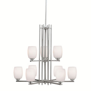 Eileen Brushed Nickel Two-Tier, Nine-Light Chandelier