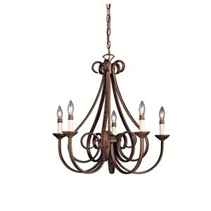 Dover II Five-Light Tannery Bronze Chandelier
