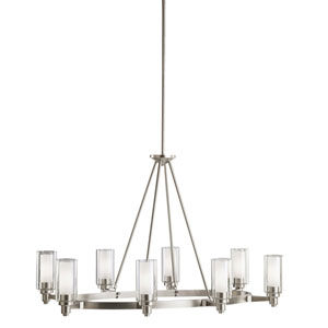 Circolo Brushed Nickel Eight-Light Oval Chandelier