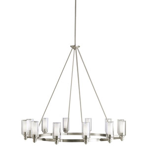 Circolo Brushed Nickel Twelve-Light Chandelier