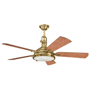 Hatteras Bay Burnished Antique Brass Four-Light 56-Inch Ceiling Fan