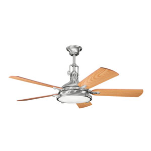 Hatteras Bay Brushed Stainless Steel Four-Light 56-Inch Ceiling Fan