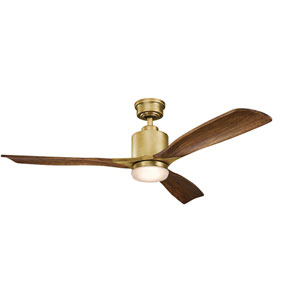 Ridley II Natural Brass 52-Inch LED Ceiling Fan