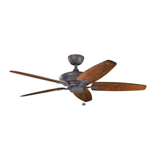 Canfield 52-Inch Distressed Black Ceiling Fan