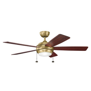 Starkk Natural Brass Ceiling Fan with Light Kit