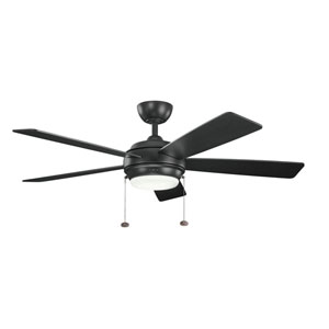 Starkk Satin Black One Light Ceiling Fan