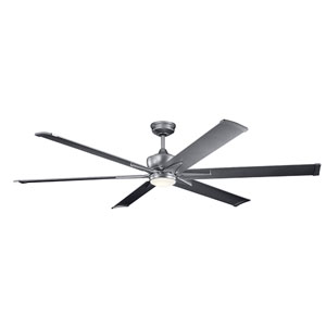Szeplo Patio Weathered Steel Powder Coat 80-Inch Wet Location LED Ceiling Fan