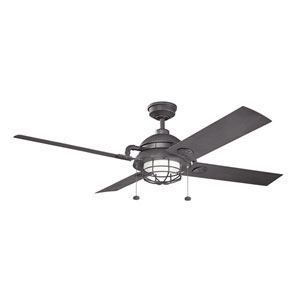 Maor Distressed Black 65-Inch Fan