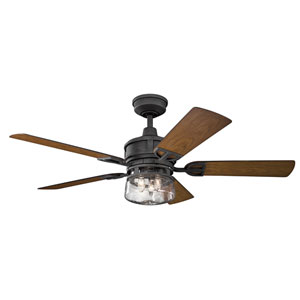 Lyndon Patio Distressed Black Three-Light 52-Inch Wet Location Ceiling Fan
