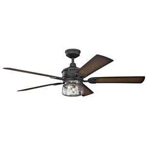 Lyndon Patio Distressed Black Three-Light 60-Inch Wet Location LED Ceiling Fan