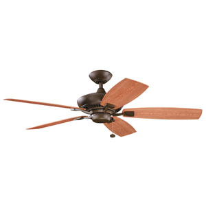 Canfield Patio 52-Inch Energy Star Tannery Bronze Powder Coat Fan w/ All-Weather ABS Reversible Walnut/Cherry Blades