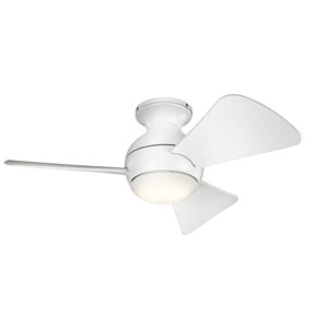 Sola Matte White 34-Inch Wet Location LED Ceiling Fan