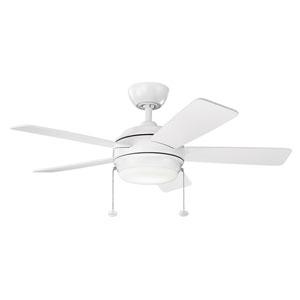 Starkk Matte White 42-Inch LED Ceiling Fan with Light Kit