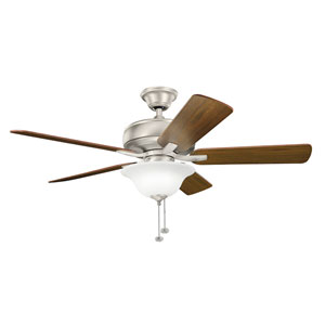 Terra Select Brushed Nickel 52-Inch Ceiling Fan with Light Kit