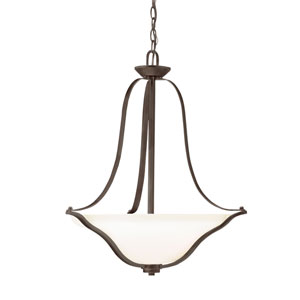 Langford Olde Bronze Three Light Inverted Small Pendant with Etched White Glass