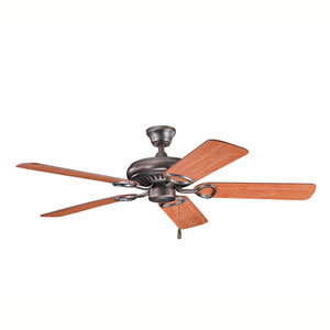 Sutter Place Oil Brushed Bronze 52-Inch Ceiling Fan with Reversible Walnut/Cherry Blades