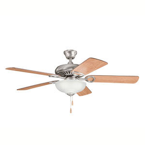 Sutter Place Select Antique Pewter Three-Light 52-Inch Ceiling Fan with Reversible Cherry Blades