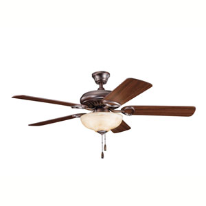 Sutter Place Select Oil Brushed Bronze Three-Light 52-Inch Ceiling Fan with Reversible Walnut/Cherry Blades