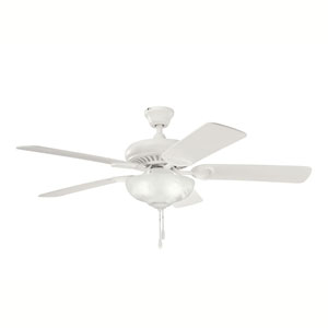 Sutter Place Select Satin Natural White Three-Light 52-Inch Ceiling Fan with Natural White Blades