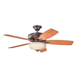 Monarch II Select Oil Brushed Bronze One-Light 52-Inch Ceiling Fan with Reversible Walnut/Cherry Blades