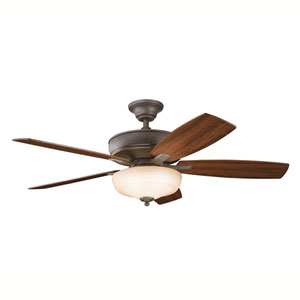 Monarch II Select Olde Bronze One-Light 52-Inch Ceiling Fan with Reversible Cherry/Walnut Blades