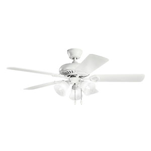 Sutter Place Select Matte White 14.5-Inch Ceiling Fan with Light Kit