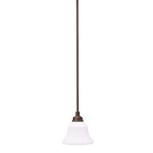 Langford Olde Bronze One Light Mini Pendant with Satin-Etched White Glass