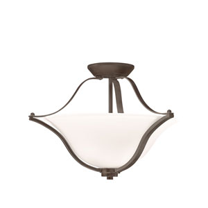 Langford Olde Bronze Two Light Semi-Flush with Satin Etched White Glass