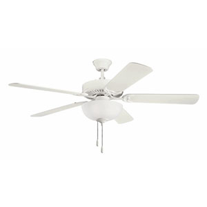Basics Select 52-Inch Satin Natural White Three-Light Ceiling Fan