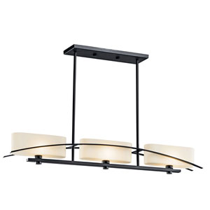 Suspension Painted Black Three-Light Island Pendant